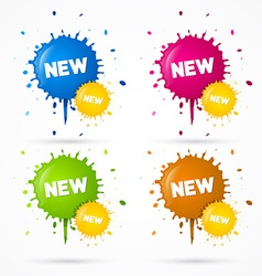 Blue Orange Pink and Green Stickers Blots Stains vector