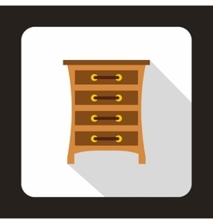 Brown chest of drawers icon flat style vector image