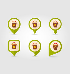 Bucket flat pin map icon vector