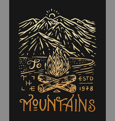 Camping logo and label mountains and pine trees vector