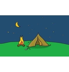 Camping place with tent and vector