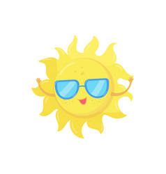Cartoon character of yellow sun in sunglasses vector