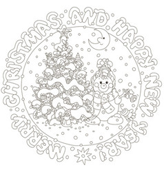 christmas card with a funny snowman vector image