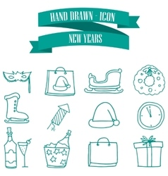 Collection stock New Year icons vector image