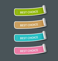 Colorful paper best choice label roll vector image vector image