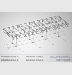 Construction drawings 3d metal construction cover vector