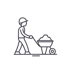 construction works line icon concept construction vector image