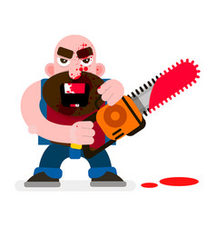 crazy murderer covered in blood with a chainsaw vector image