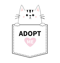 Cute cat hands pocket adopt me pink heart vector