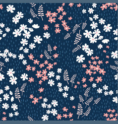 Cute hand drawn seamless pattern - ditsy meadow vector