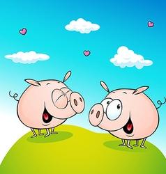 Cute pig in love vector
