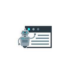 desktop robot logo icon design vector image