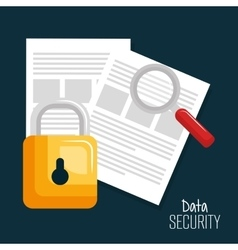 Documents lock technology data digital security vector