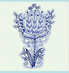 doodle flower hand-drawn in notebook vector image