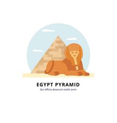 egypt pyramid with sphinx - landmark giza vector image