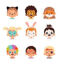 face painting avatars kids happy portraits vector image