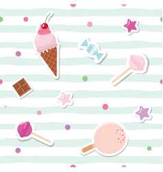 festive seamless pattern with cute stickers vector image