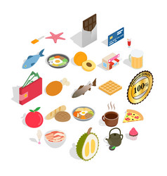 filling for bun icons set isometric style vector image