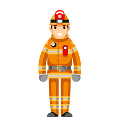 Firefighter flat design character isolated vector