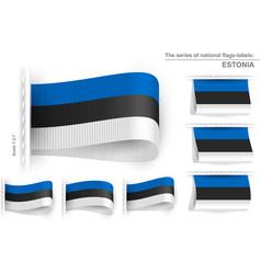 Flag tag clothes label sticker sewn set estonia vector