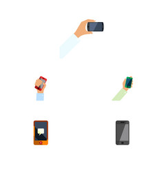 flat icon smartphone set of smartphone telephone vector image