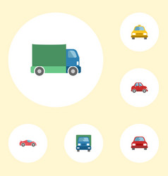flat icons cab truck luxury auto and other vector image