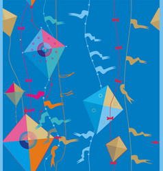 Flying kite on cables with flags vector