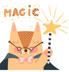fox - cute magic wand and trick vector image