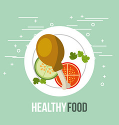 fresh chicken and tomato cucumber healthy food vector image