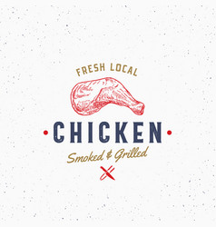fresh local poultry meat typography label emblem vector image