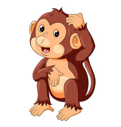 Funny monkey sitting and thinking vector