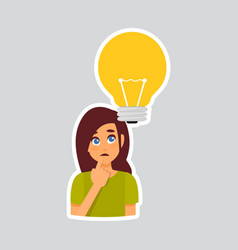 Girl pondering sticker for messenger label icon vector