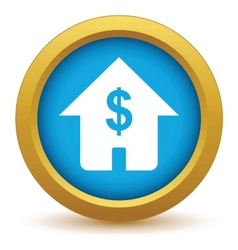 Gold dollar house icon vector