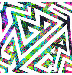 grunge graffiti geometric seamless pattern vector image