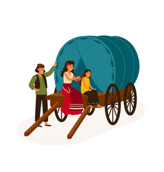Gypsy family sitting on wagon flat vector