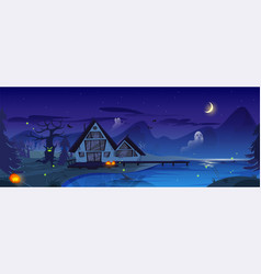Halloween with old scary house vector