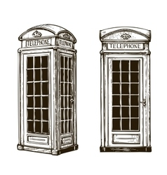 Hand drawn london phone booth sketch vector