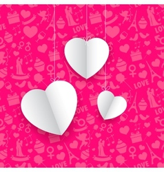Hanging Heart in Seamless Love Background vector