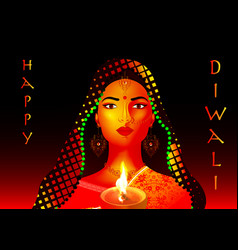 Happy diwali traditional indian festival colorful vector