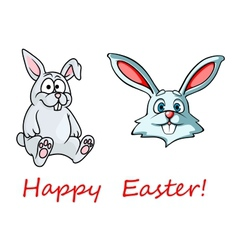 Happy Easter card with easter bunnies vector