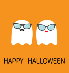Happy halloween ghost spirit family couple with vector