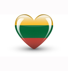 Heart-shaped icon with national flag lithuania vector