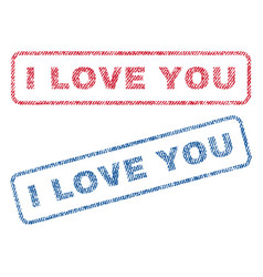 i love you textile stamps vector image