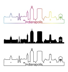 Indianapolis skyline linear style with rainbow vector