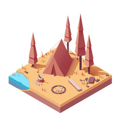 isometric campsite in autumn vector image