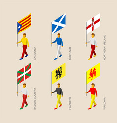 isometric people with flags of european regions vector image