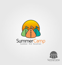 kid summer camp logo template vector image