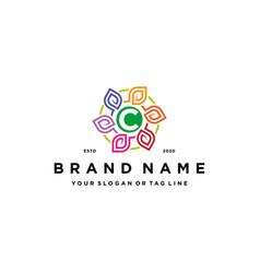 Letter c leaf colorful logo design and business vector