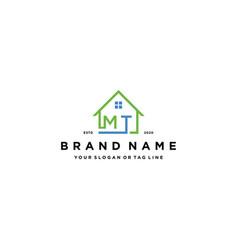 Letter mt home logo design vector