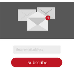 light subscribe to newsletter form in redgrey and vector image